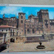 Postales: GUADALUPE PLAZA Y FACHADA DEL MONASTERIO HERLOGAR. Lote 187151901