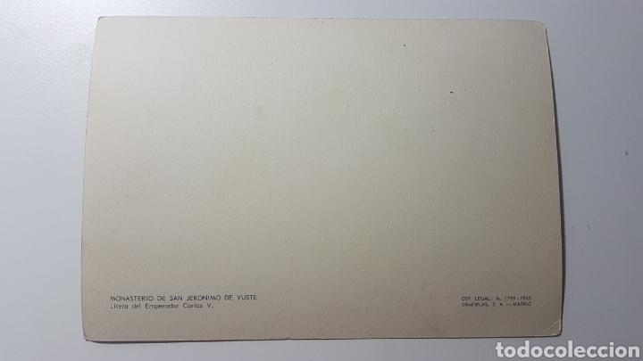 Postales: Tarjeta Monasterio de San Jerónimo de Yuste Cáceres - Litera del Emperador Carlos V - 1965 - 106x151 - Foto 2 - 191986031