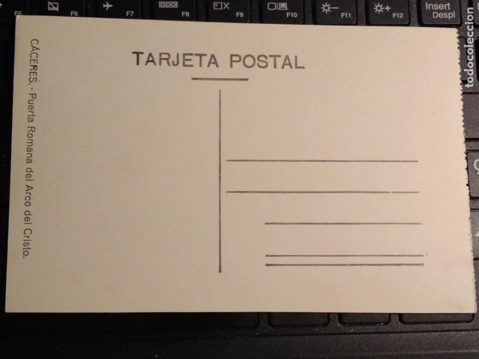 Postales: CACERES PUERTA ROMANA DEL ARCO DEL CRISTO EDICION FLORIANO COLECCION ARQUITECTONICA - Foto 2 - 171745047