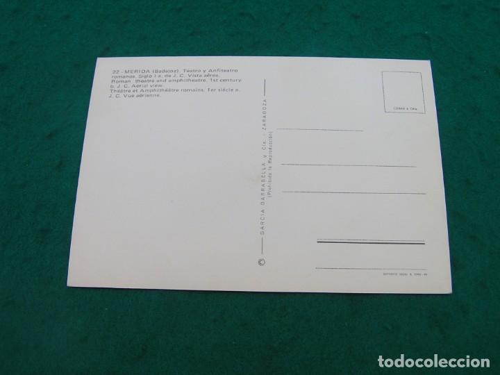 Postales: Postal con vista aérea del teatro y anfiteatro romanos de Mérida ( Badajoz). ¿Años 60-70? - Foto 2 - 194185812