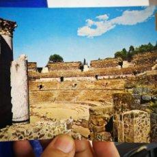 Postales: POSTAL MÉRIDA BADAJOZ TEATRO ROMANO 24 AÑOS ANTES DE J.C. GRADERÍA N 1 ESCUDO DE ORO S/C. Lote 195110295