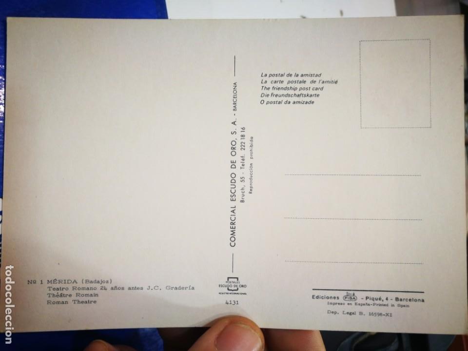 Postales: Postal Mérida Badajoz Teatro Romano 24 años antes de J.C. Gradería N 1 ESCUDO DE ORO S/C - Foto 2 - 195110295