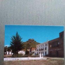 Postales: ANTIGUA POSTAL BURGUILLOS DEL CERRO - BADAJOZ - PLAZA DE ESPAÑA, CASTILLO AL FONDO. Lote 198659555