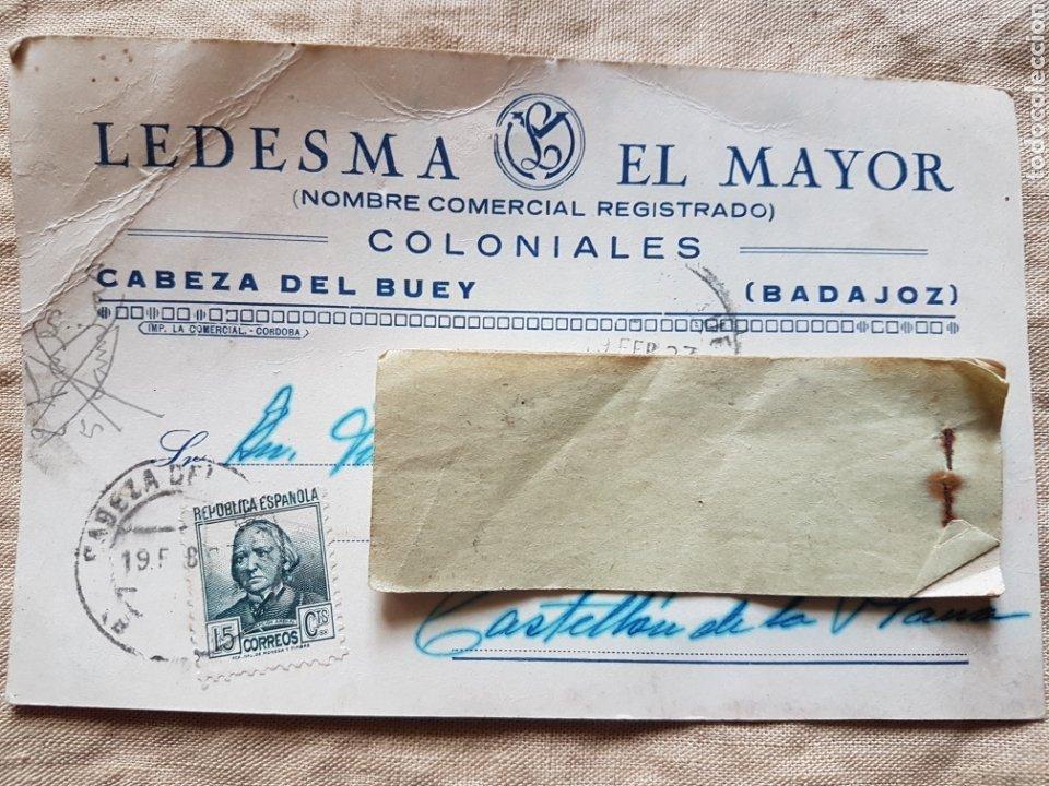 POSTAL GUERRA CIVIL COLONIALES LEDESMA CABEZA DEL BUEY BADAJOZ 1937 W (Postales - España - Extremadura Antigua (hasta 1939))