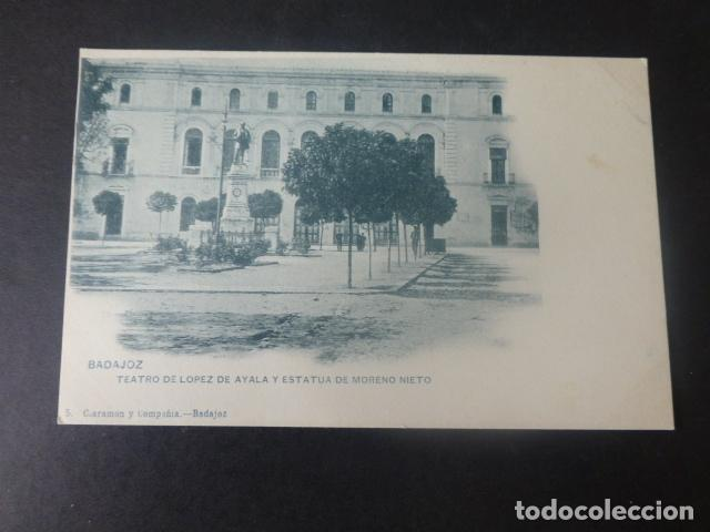 BADAJOZ TEATRO DE LOPEZ DE AYALA Y ESTATUA DE MORENO NIETO (Postales - España - Extremadura Antigua (hasta 1939))
