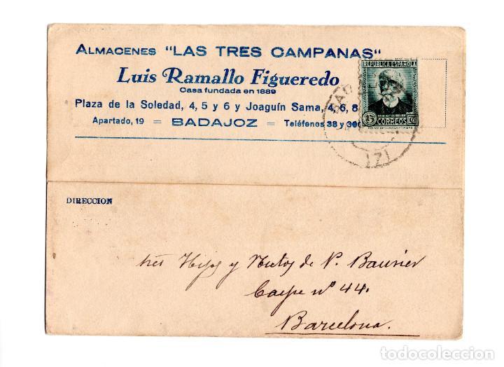 BADAJOZ.- POSTAL COMERCIAL DE ALMACENES LAS TRES CAMPANAS DE LUIS RAMALLO FIGUEREDO. (Postales - España - Extremadura Antigua (hasta 1939))