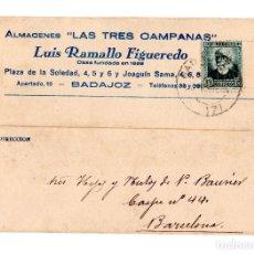 Postales: BADAJOZ.- POSTAL COMERCIAL DE ALMACENES LAS TRES CAMPANAS DE LUIS RAMALLO FIGUEREDO.. Lote 205719625