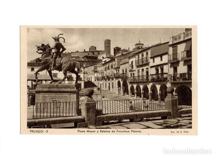 TRUJILLO.(CÁCERES).- PLAZA MAYOR Y ESTATUA DE FRANCISCO PIZARRO. (Postales - España - Extremadura Antigua (hasta 1939))