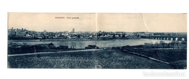 BADAJOZ.- VISTA GENERAL. DOBLE. (Postales - España - Extremadura Antigua (hasta 1939))