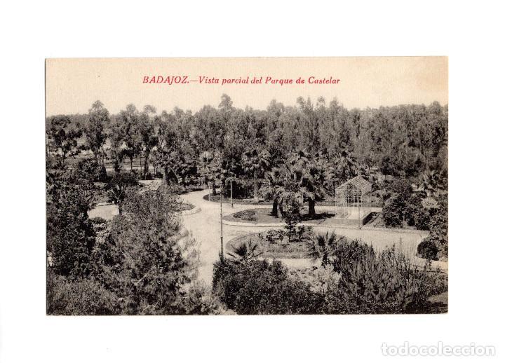 BADAJOZ.- VISTA PARCIAL, PARQUE CASTELAR. (Postales - España - Extremadura Antigua (hasta 1939))
