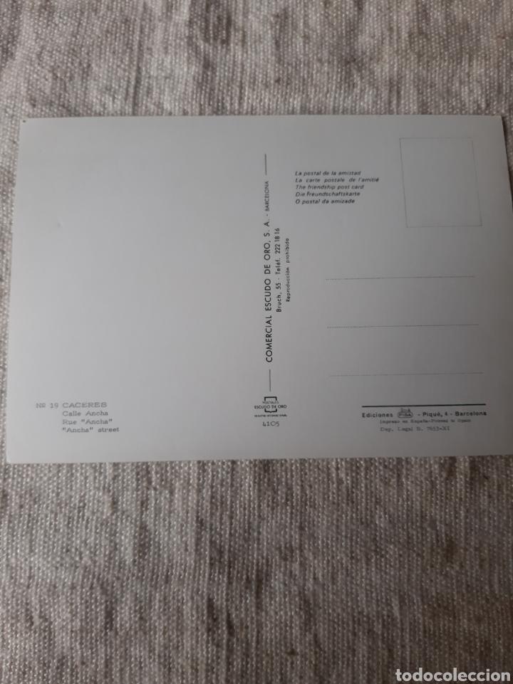 Postales: CÁCERES CALLE ANCHA COMERCIAL ESCUDO ORO BARCELONA FISA - Foto 2 - 206955015