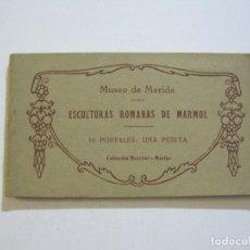 Postales: MERIDA-MUSEO DE MERIDA-ESCULTURAS ROMANAS DE MARMOL-BLOC CON 10 POSTALES ANTIGUAS-(72.004). Lote 209712201