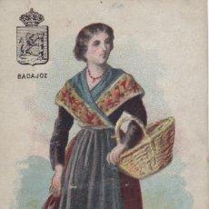 Postales: BADAJOZ CROMO TIPO POSTAL COLECCION TIPOS DE ESPAÑA. CROMOLITOGRAFIA DE M. PUJADAS BARCELONA. Lote 220877170