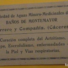 Postales: ANTIGUA TARJETA POSTAL PUBLICITARIA.BAÑOS DE MONTEMAYOR.CACERES.FERRERO Y COMPAÑIA.. Lote 221615311