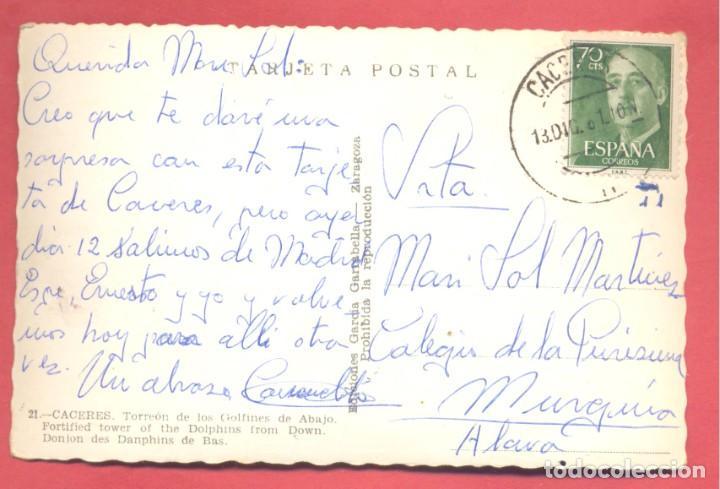 Postales: caceres 21 torreon de los golfines de abajo , ediciones garcia garrabella, circulada 1961,.dentada - Foto 2 - 222985660