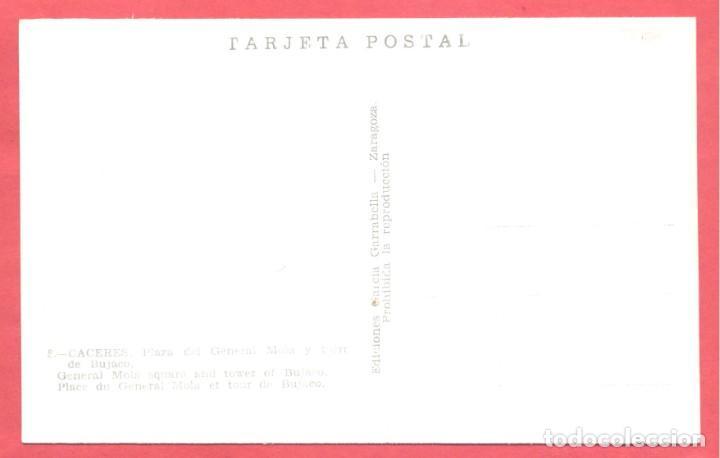 Postales: caceres 8 plaza del general mola y torre de bujaco, ediciones garcia garrabella,.lisa, s/c, ver foto - Foto 2 - 222990800