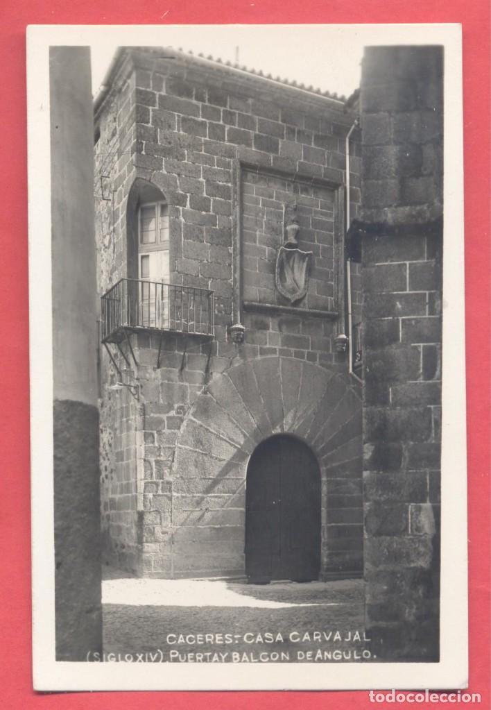 CACERES, CASA CARVAJAL SIGLO XIV PUERTA Y BALCON DE ANGULO, ED. GM/WB S/C. VER FOTOS (Postales - España - Extremadura Antigua (hasta 1939))