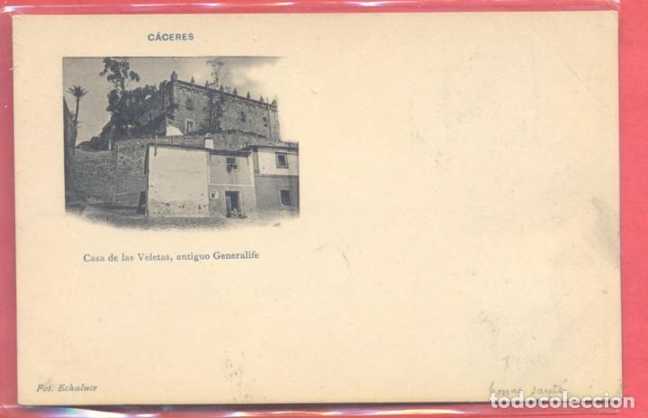 CACERES, CASA DE LAS VELETAS, ANTIGUO GENERALIFE, FOT. ECHALUCE.PAPELERIA ALCOYANA, CIRCULADA 1905? (Postales - España - Extremadura Antigua (hasta 1939))
