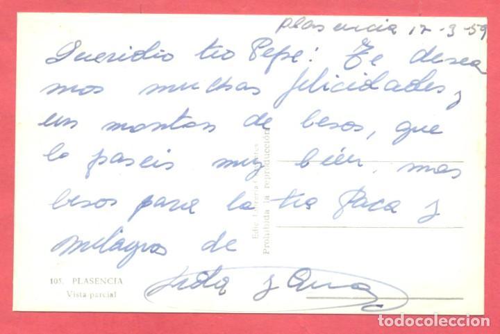 Postales: plasencia (caceres) 105 vista parcial, edic. libreria cervantes, circulada 1959. ver fotos - Foto 2 - 223856352