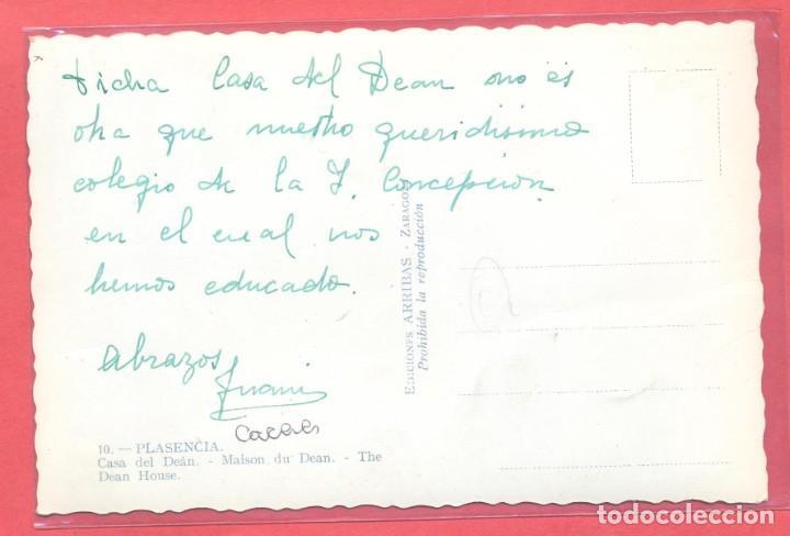 Postales: plasencia (caceres) 10 casa del dean, ed. arribas,circulada sin sello ni fecha, ver fotos - Foto 2 - 223936001