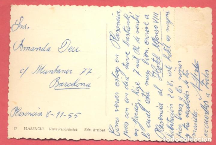 Postales: plasencia (caceres) 17 vista panoramica ed. arribas variedad reverso, circulada 1955 sin sello, - Foto 2 - 223937330