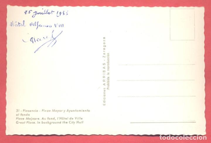 Postales: plasencia (caceres) 31 plaza mayor y ayuntamiento al fondo, ediciones arribas,circulada 1955 sin sel - Foto 2 - 223938257
