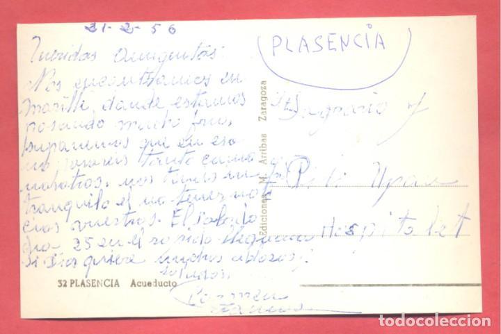 Postales: plasencia (caceres) 32 acueducto, ediciones m. arribas, circulada 1956 sin sello, ver fotos - Foto 2 - 223938970