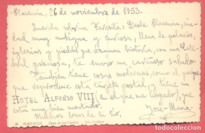 Postales: plasencia (caceres) 38 cruz de los caidos, ediciones arribas variedad reverso, circulada 1953 sin se - Foto 2 - 223941756