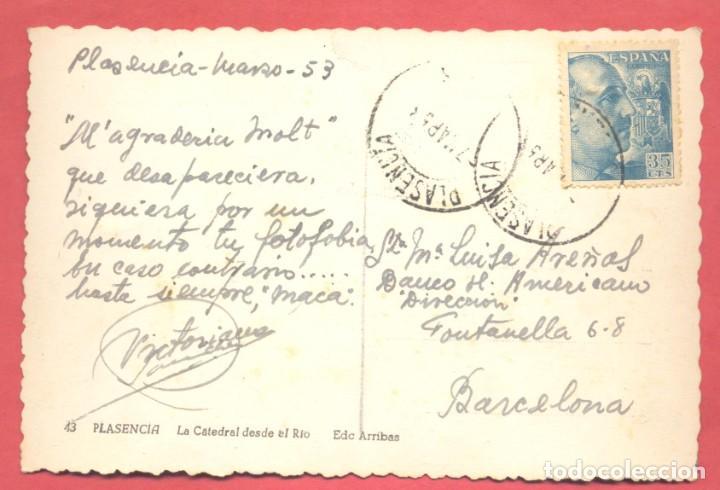 Postales: plasencia (caceres) 43 la catedral desde el rio, edc.arribas variedad reverso, circulada 1953 - Foto 2 - 223943252