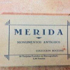 Postales: RECUERDO MERIDA, COLECCION BOCCONI, POSTALES HUECOGRABADO. Lote 224494887