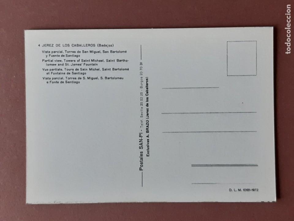 Postales: POSTAL 4 SAN-PI. VISTA PARCIAL. JEREZ DE LOS CABALLEROS. BADAJOZ. 1972. SIN CIRCULAR. - Foto 2 - 228320595