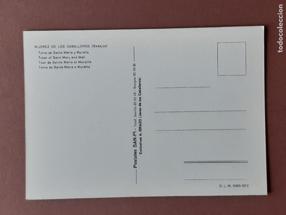Postales: POSTAL 10 SAN-PI. TORRE DE SANTA MARÍA. JEREZ DE LOS CABALLEROS. BADAJOZ. 1972. SIN CIRCULAR. - Foto 2 - 228320940
