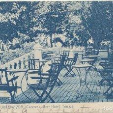 Postales: BAÑOS DE MONTEMAYOR (CÁCERES) GRAN HOTEL TERRAZA. FRANQUEADO Y FECHADO CON DOBLE SELLO DEL CID (10 C. Lote 235033435