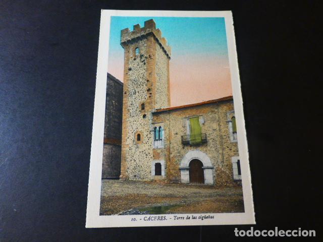 CACERES TORRE DE LAS CIGÜEÑAS ED. L. ROISIN COLOREADA (Postales - España - Extremadura Antigua (hasta 1939))