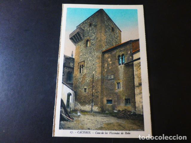 CACERES CASA DE LOS VIZCONDES DE RODA ED. L. ROISIN COLOREADA (Postales - España - Extremadura Antigua (hasta 1939))