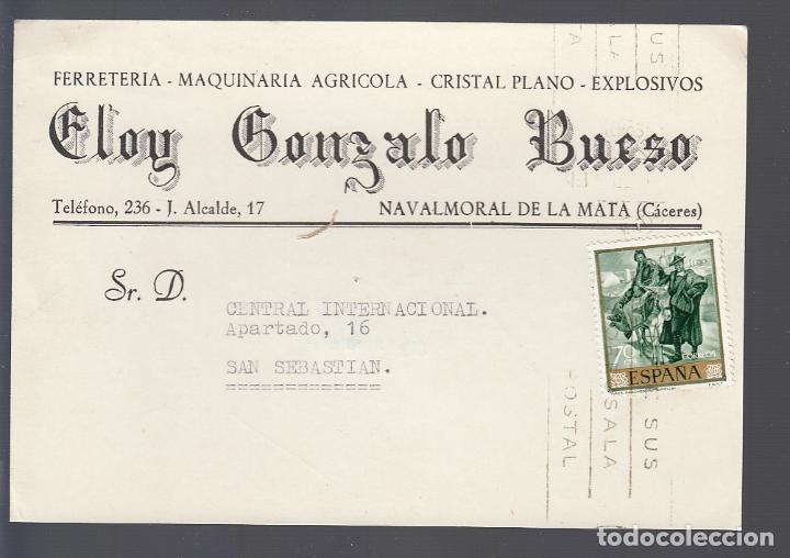 NAVALMORAL DE LA MATA (CÁCERES).- TARJETA PUBLICITARIA DE FERRETERIA DE ELOY GONZALO (Postales - España - Extremadura Antigua (hasta 1939))