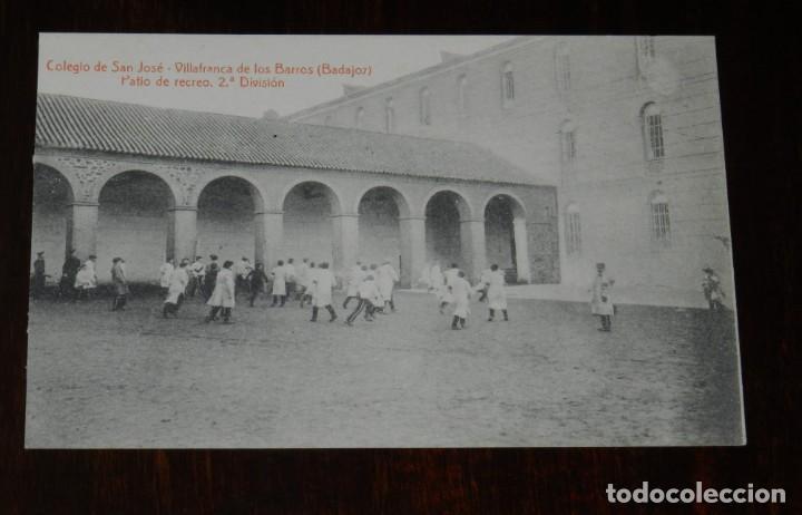 POSTAL DE VILLAFRANCA DE LOS BARROS, BADAJOZ, COLEGIO DE SAN JOSE, PATIO RECREO 2ª DIVISION, FOTO L (Postales - España - Extremadura Antigua (hasta 1939))