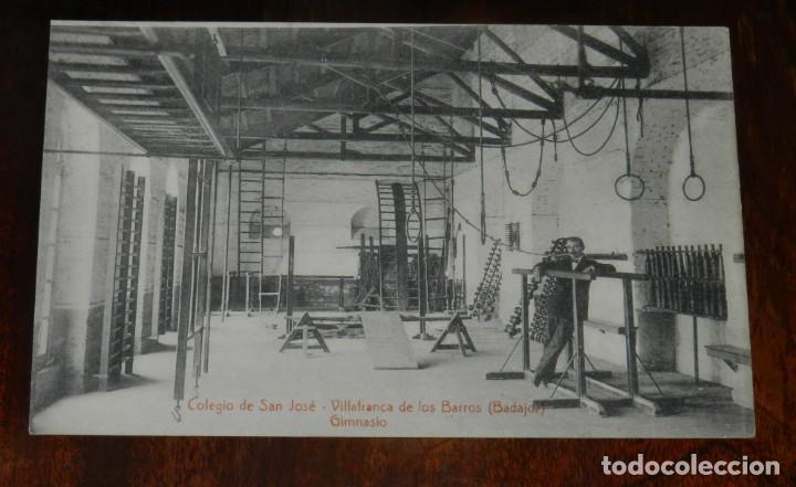 POSTAL DE VILLAFRANCA DE LOS BARROS, BADAJOZ, COLEGIO DE SAN JOSE, GIMNASIO, FOTO L. SAUS VANDERMAN, (Postales - España - Extremadura Antigua (hasta 1939))