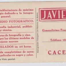 Postais: POSTAL DE CÁCERES. VISTA PARCIAL, REVERSO CON PUBLICIDAD DE ESTUDIO FOTOGRAFICO JAVIER. Lote 242384500