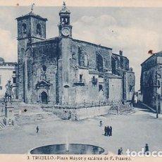 Postales: TRUJILLO 3 PLAZA MAYOR Y ESTATUA DE F. PIZARRO. FOTO G GUERRA. SIN CIRCULAR.. Lote 243639515