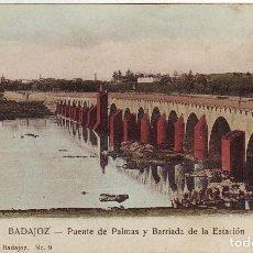 Postales: PB-13 BADAJOZ. PUENTE DE PALMAS Y BARRIADA DE LA ESTACIÓN. Lote 246227100