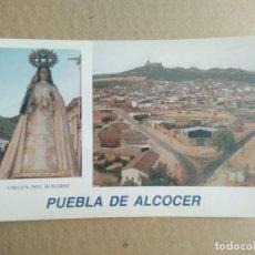 Postales: POSTAL PUEBLA DE ALCOCER, BADAJOZ, VIRGEN DEL ROSARIO, VISTA PANORAMICA. Lote 255525485