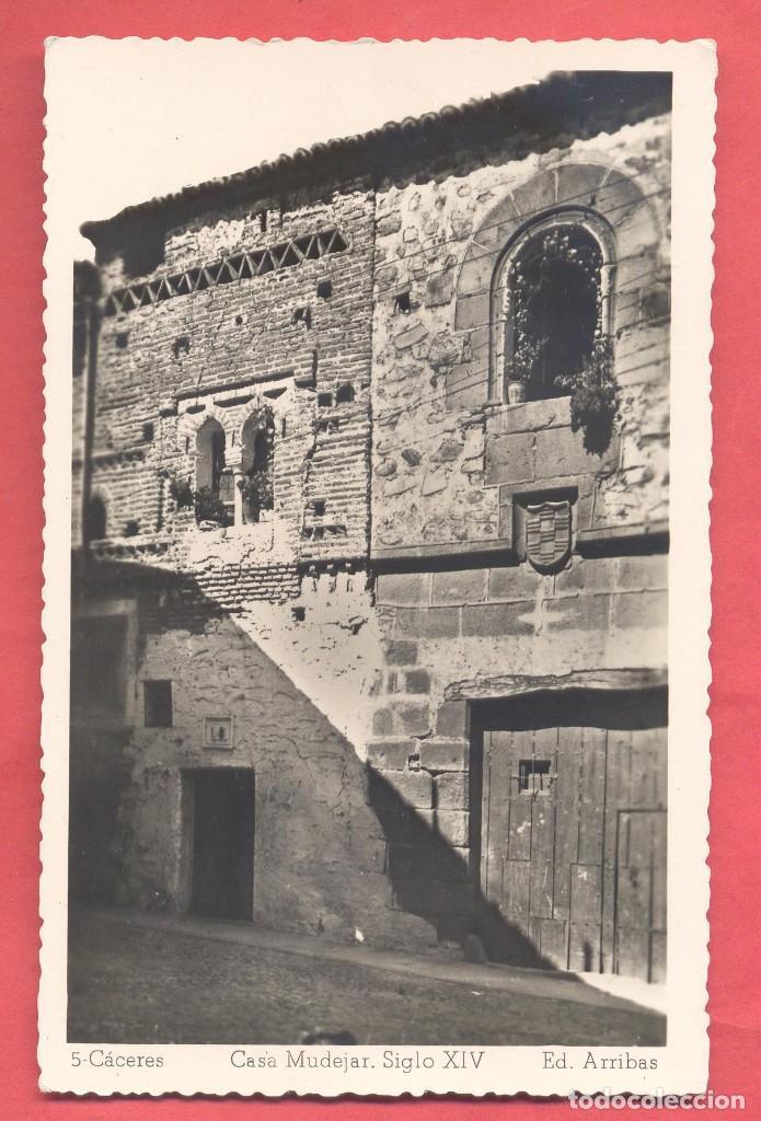 5 CACERES CASA MUDEJAR, SIGLO XIV , ED. ARRIBAS,SIN CIRCULAR, VARIEDAD DENTADA, VER FOTOS (Postales - España - Extremadura Antigua (hasta 1939))