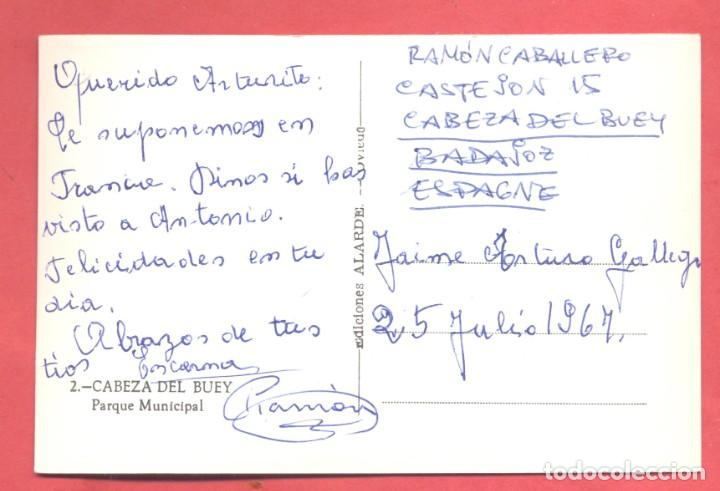 Postales: cabeza del buey (badajoz) 2 parque municipal, ed. alarde, circulada 1967 sin sello, ver fotos - Foto 2 - 258863395