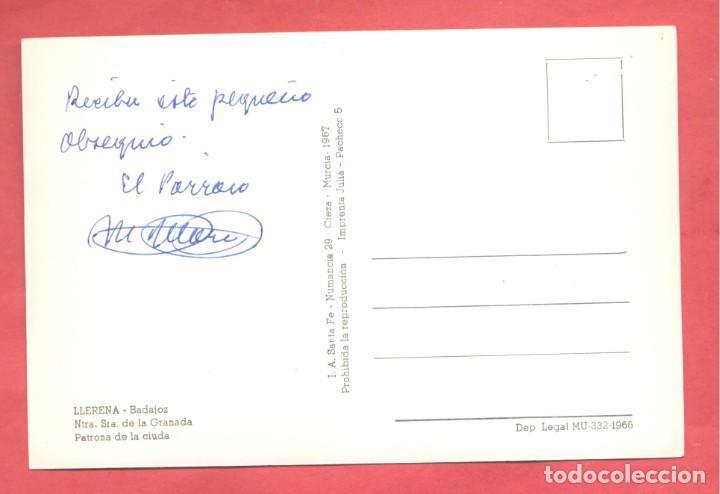 Postales: llerena (badajoz) ntra. sra, de la granada, ed. santa fe coloreada,firmada en reverso por el parroco - Foto 2 - 258868490