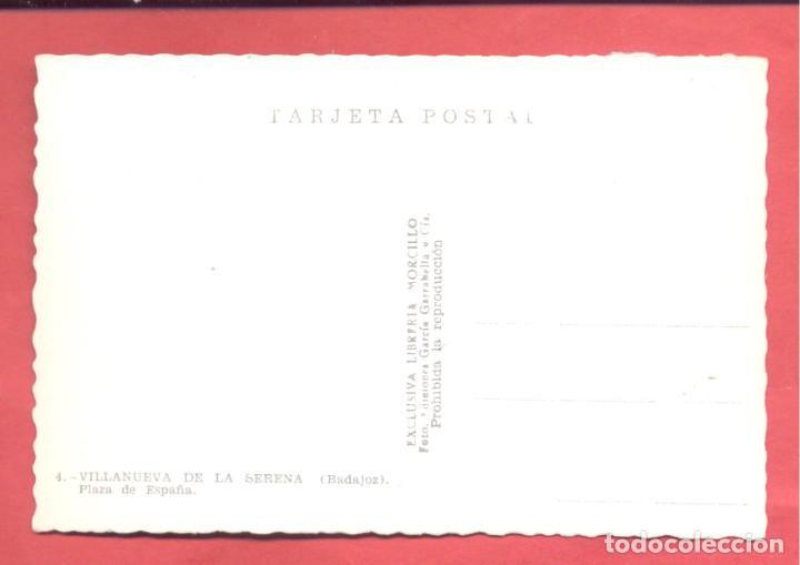 Postales: villanueva de la serena (badajoz) 4 plaza de españa, libreria morcillo, dentada, coloreada, s/c, - Foto 2 - 258873550