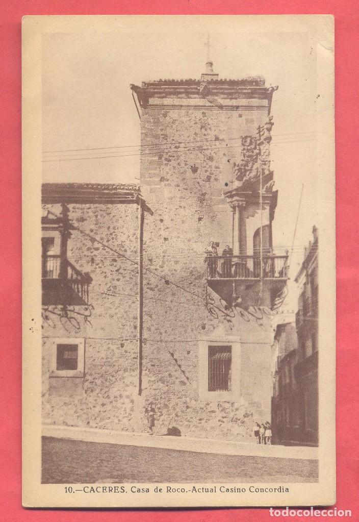 10 CACERES CASA DE ROCO. ACTUAL CASINO CONCORDIA, CIRCULADA 1950, VER FOTOS (Postales - España - Extremadura Antigua (hasta 1939))