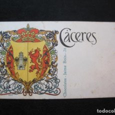 Postales: CACERES-ESCUDO-DIBUJO TRIADO-CHOCOLATES JAIME BOIX-REVERSO SIN DIVIDIR-POSTAL ANTIGUA-(80.405). Lote 262285970