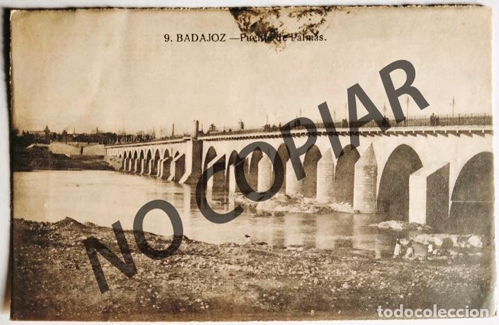 ANTIGUA POSTAL DE BADAJOZ. PUENTE DE PALMAS. 1924. ESCRITA Y CIRCULADA. (Postales - España - Extremadura Antigua (hasta 1939))