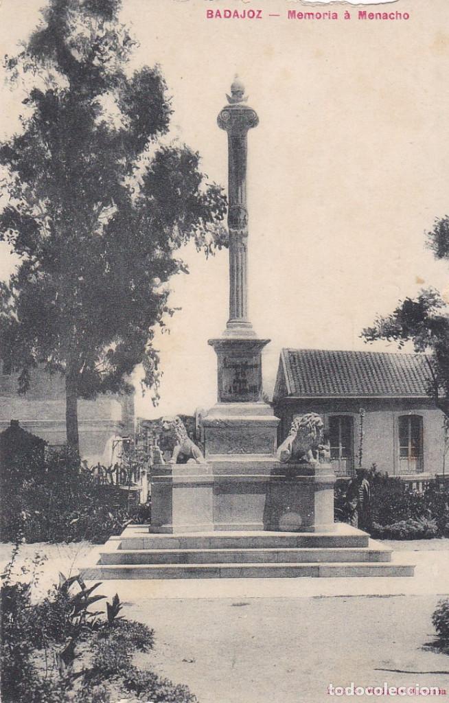 BADAJOZ MEMORIA A MENACHO. ED. VIUDA DE CLARAMON Nº 5. SIN CIRCULAR (Postales - España - Extremadura Antigua (hasta 1939))